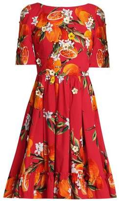 Dolce & Gabbana Embellished Pleated Printed Cotton Dress