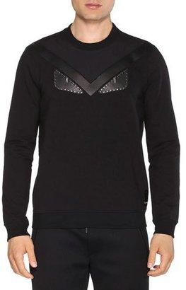 Fendi Leather Monster Eyes Crewneck Sweatshirt, Black $750 thestylecure.com