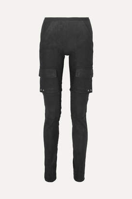 Rick Owens Cotton Blend-paneled Leather Skinny Pants - Black