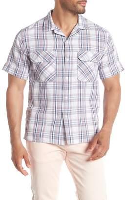 Save Khaki Short Sleeve Plaid Camp Shirt
