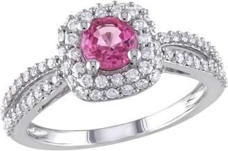 Affinity Diamond Jewelry Pink Sapphire & Diamond Ring, 14K White Gold