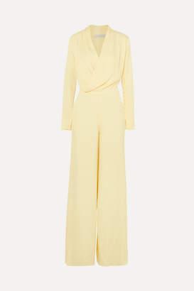 Les Héroïnes - The Tina Wrap-effect Satin Jumpsuit - Pastel yellow