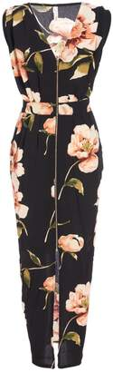 Quiz Black And Pink Floral Print Maxi Dress