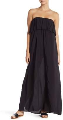 Elan International Strapless Ruffle Overlay Maxi Dress