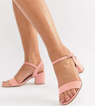 London Rebel Wide Fit Mid Block Heeled Sandals