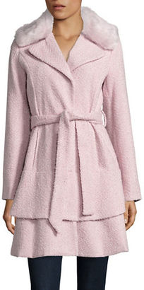 Betsey Johnson Faux Fur-Trimmed Belted Flared Coat $260 thestylecure.com