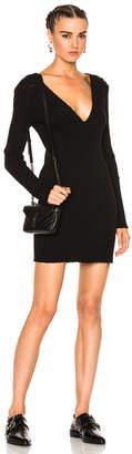 Amiri Long Sleeve Deep V Neck Rib Dress