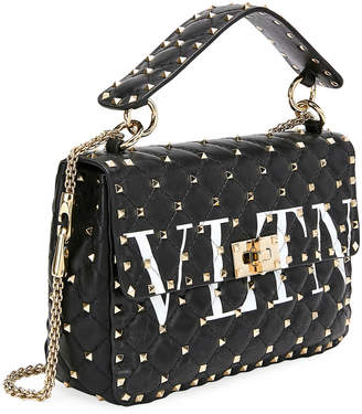 Valentino Spike.It Medium VLTN Logo Quilted Leather Shoulder Bag