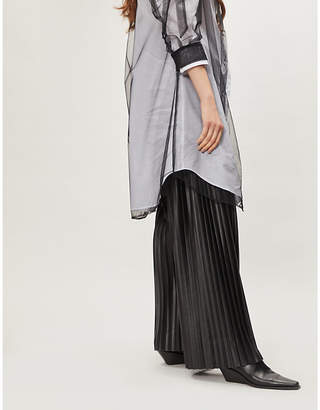 HUISHAN ZHANG Pleated high-rise wide-leg faux-leather trousers