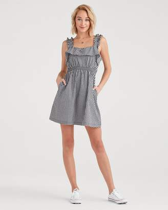 b2af0c80d553 7 For All Mankind Gingham Ruffle Dress in Black and White