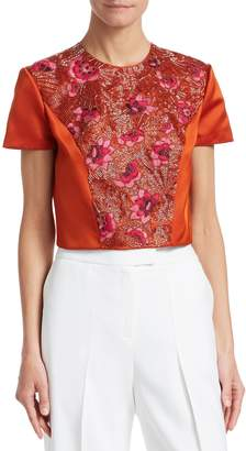 Zac Posen Women's Bead Embroidery Crop Blouse
