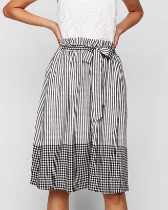 Express Mixed Pattern Sash Tie Waist Midi Skirt