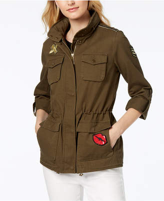 Vince Camuto Hooded Patch-Detail Anorak