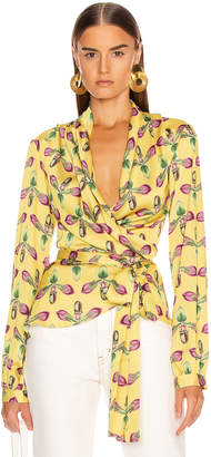 PatBO Floral Print Wrap Top in Bright Yellow | FWRD