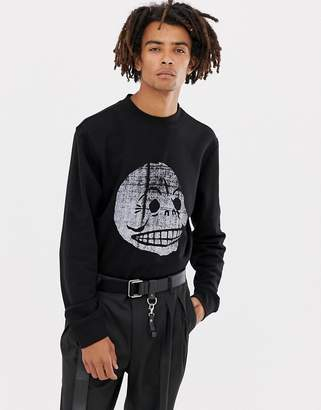 Cheap Monday Crew Neck Sweatshirt In Black With Copy Skull