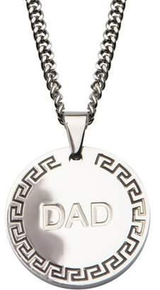 "STEEL ART Steel Art Men's Stainless Steel DAD and Greek Key Inscription Round Pendant, 24"" Chain"