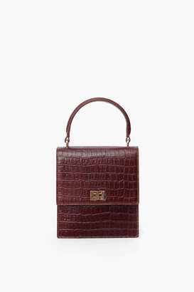 Neely & Chloe Chocolate Brown Mini Lady Bag Croc Embossed