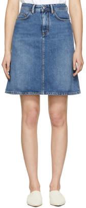 Acne Studios Bla Konst Blue Denim Shadow Miniskirt