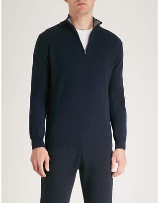 Corneliani Zip-neck wool cashmere jumper