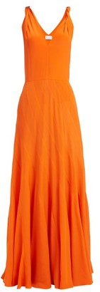 Raey Multi Seam Twist Strap Silk Dress - Womens - Orange