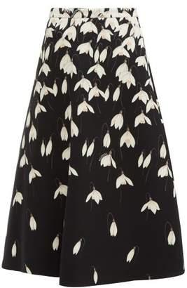 Valentino Snowdrop Print Wool Blend Crepe Midi Skirt - Womens - Black Multi
