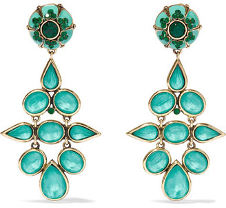 Etro - Gold-tone, Crystal And Enamel Clip Earrings - Turquoise $500 thestylecure.com