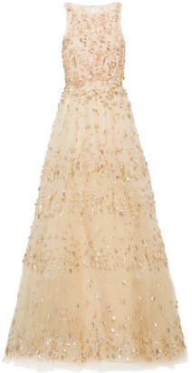 Oscar de la Renta - Tiered Embellished Tulle Gown - Cream $9,990 thestylecure.com
