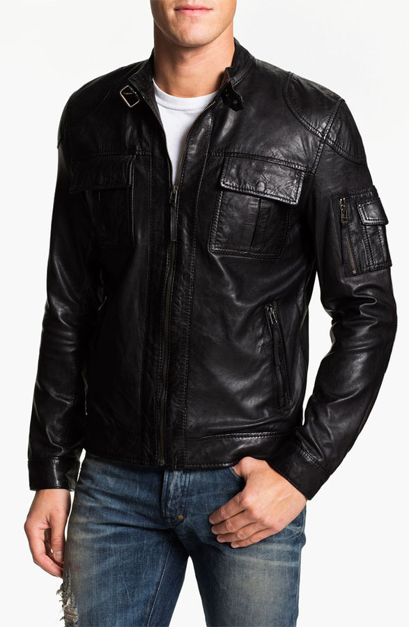 7 Diamonds 7 Diamond 'Konick' Leather Moto Jacket