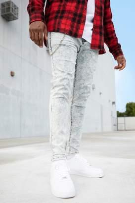 boohoo Big And Tall Acid Wash Skinny Fit Jeans