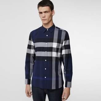 Burberry Check Stretch Cotton Shirt , Size: M, Blue
