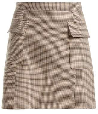 See by Chloe Checked Flap Pocket Mini Skirt - Womens - Beige Multi