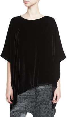 Eileen Fisher Asymmetric Velvet 3/4-Sleeve Poncho, Black, Plus Size $268 thestylecure.com