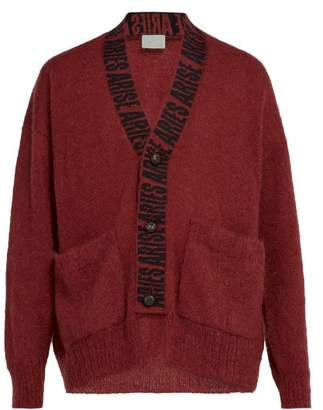 Aries Logo Intarsia Cardigan - Mens - Red