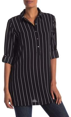 Philosophy Apparel Long Sleeve Striped Tunic Blouse