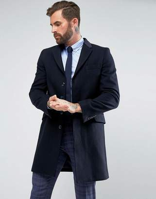 Blend of America Gianni Feraud Premium Wool Single Breasted Classic Overcoat with Velvet Collar