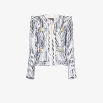 Balmain collarless front pocket jacket