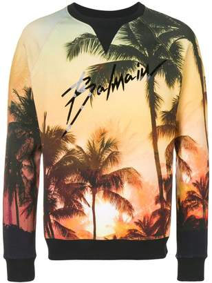 Balmain Palm tree print sweatshirt