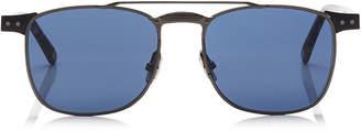 Jimmy Choo ALAN Blue Avio Ruthenium Havana Square Frame Sunglasses with Metal Frame
