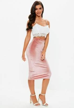 Missguided Rose Velvet Midi Skirt