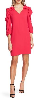 CeCe Bow Detail Ruffle Sleeve Crepe Dress