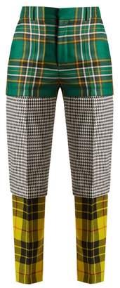 Balenciaga Panelled Straight Leg Wool Trousers - Womens - Green Multi