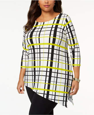 Alfani Plus Size Plaid Asymmetrical Tunic, Created for Macy's