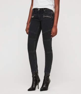 AllSaints Biker Cropped Skinny Low-Rise Jeans, Washed Black