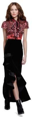 Alice + Olivia Arianna Velvet Slit Midi Skirt