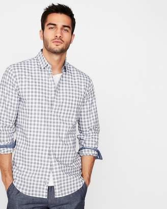 Express Slim Soft Wash Plaid Button-Down Shirt
