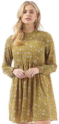 Jacqueline De Yong Womens Base New Long Sleeve Patterned Smock Dress Spicy Mustard/Base Small Flower
