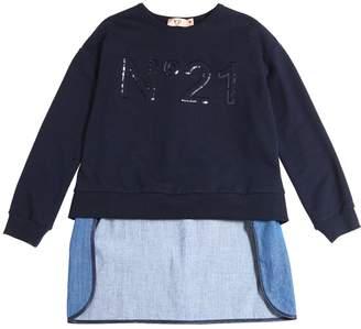 N°21 Cotton Sweatshirt W/ Chambray Back