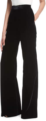 Brandon Maxwell High-Waist Wide-Leg Velvet Pants