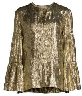 Michael Kors Metallic Tiered Sleeve Peasant Top