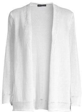 Piazza Sempione Women's Linen& Cotton Cardigan - Optical White - Size 40 (4)
